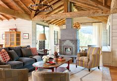 17 Stunning Rustic Living Room Interior Designs For Your Mountain Cabin - Style Motivation Montana, Room Additions, Outdoor Seating Areas, Cabin Interiors, Rustic Decor, Rustic Room, Rustic Cottage, Interior Design Living Room, Diy Home Decor