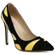 Trendy Women's Pumps With Color Block and PU Leather Design #shoes, #jewelry, #women, #men, #hats, #watches, #belts