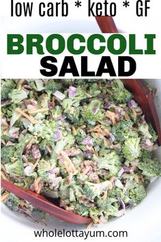 A easy keto broccoli salad that's simple to make and is a healthy twist on the sugary original. This cold gluten free low carb broccoli salad is loaded with goodness like bacon, cheddar and sunflower seeds. Perfect for a holiday party, lunch meal prep, potluck, or BBQ. #keto #ketorecipes #lowcarb #glutenfree #saladrecipes #healthyrecipes