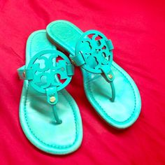 Tory burch miller sandals Turquoise. No longer sold. Great condition!!!!! Tory Burch Shoes Sandals