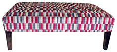 Large table stool on square tapering legs, upholstered in London Underground fabric from Kirkby Design