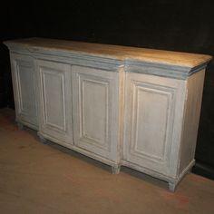 Breakfront Pine Dresser Base-19th C English Breakfront painted pine dresser base. 1840.