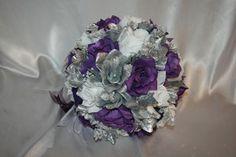 silver and purple bouqet | Bridal Bouquet Package Purple Black Silver Round Silk Flower Wedding ...