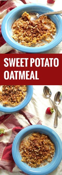 Creamy vegan sweet potato oatmeal topped with crunchy pecans makes an easy yet healthy breakfast. All clean eating ingredients are used so try this out later this week. Pin now for later.