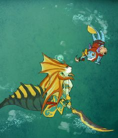 Dota 2 - Under da sea by ~spidercandy on deviantART. (Slark & Naga Siren)