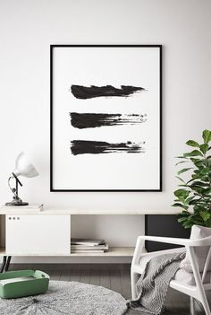 Brush Stroke Print, Black and White Abstract Wall Art, Printable Instant Downloa… - diy best decorations Black And White Wall Art, Black And White Painting, Black And White Abstract, Black White, Design Scandinavian, Metal Tree Wall Art, Modern Art Paintings, Living Room Art, Abstract Wall Art