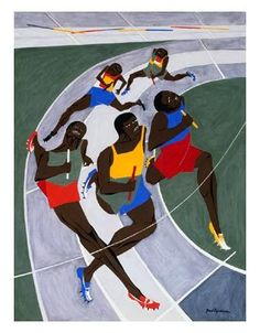 Track meet, by - Jacob Lawrence  ~Repinned Via John Kline Kansas City Artist