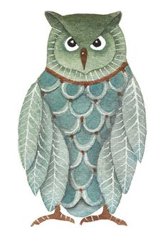 Owl original watercolor painting by Lorisworld Pinned by www.myowlbarn.com