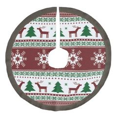 Rustic Country Christmas Reindeer Faux Linen Tree Skirt
