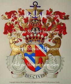 Coat of arms ( heraldic art, heraldic artist, heraldic painter, custom coats of arms, Heraldry, Heraldic paintings ) hand painted by Andrew Stewart Jamieson