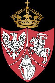 MPOWER/// Coat of Arms of the Polish-Lithuanian-Kievan Commonwealth after the 1863 january Uprising against Russian Empire. White Eagle (Poland), Vytis (Lithuania) and Archangel Michael (Kievan Ruthenia) Polish Symbols, Polish Tattoos, Family Shield, Archangel Michael, Banner, Chivalry, Family Crest, Commonwealth, Logo Nasa