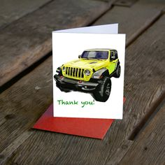 Excited to share this item from my shop: JL Wrangler Jeep Birthday Card. Thank you card. Customize your card! Now available in More colors! Wrangler Jeep, Cards For Boyfriend, Custom Cards, I Got This, Your Cards, Thank You Cards, Birthday Cards, My Etsy Shop, Colors