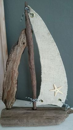 Linen DRIFTWOOD BOAT Starfish handmade craft Nautical Art COASTAL home beach sea in Home, Furniture & DIY, Home Decor, Decorative Ornaments & Figures | eBay