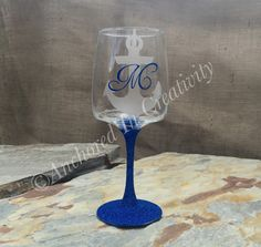 Glitter Wine Glass, Personalized Wine Glass, Anchor Wine Glass, Wine Goblet, Gift for Her, Etched Glass, Etched Wine Glass, Navy Wine Glass by AnchorInCreativity on Etsy
