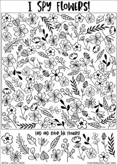 This fun and flower-fillled free printable I spy sheet is perfect for spring! Print, search and have fun playing I Spy! Activity Sheets For Kids, Coloring Sheets For Kids, Coloring Pages, Fairy Coloring, Educational Activities, Classroom Activities, Book Activities, Printable Activities For Kids, I Spy Games