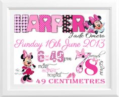 Birth Announcement, Birth Print for a little girl - Minnie Mouse