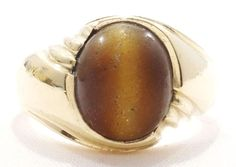 10k Solid Gold Ring Tigers Eye Men's Great Gift Can Be Sized Free Shipping