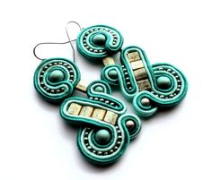treasures under the sea - soutache earrings - free shipping by KimimilaArt on Etsy