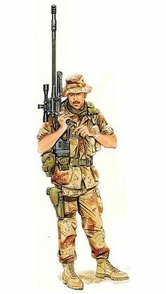 1990 - 1991 Sargento francotirador de primera clase de las Fuerzas especiales de los Estados Unidos en la Guerra del Golfo, porta un Fusil de francotirador MD 5100A1 de 1800mts de alcanze eficaz con mira Ultra 10xM3A y una pistola M9 para defensa cercana