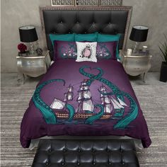 Lightweight Octopus Bedding Purple and Teal Kraken Octopus Octopus... ($119) ❤ liked on Polyvore featuring home, bed & bath, bedding, duvet covers, home & living, white, white duvet, california king bedding, teal bedding and king size bedding