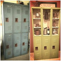 upcycled lockers, cute idea for an athlete's room.