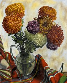 Still Life with Chrysanthemums (First half 20th century) by Aime Victor Barraud (1902-1954), Swiss (stilllifequickheart)