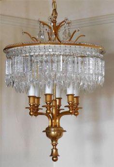 1950's 1960's Brass 2 Tier Wedding Cake Crystal Chandelier Light Fixture Vintage | eBay $445.00