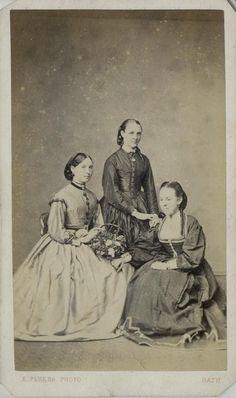 CDV 3 Seated Women in Hooped Dresses, one in lovely chemisette on right by Flukes of Bath C 1860   eBay