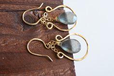 14kt Gold Moss Aquamarine Earrings  Gold Horseshoe