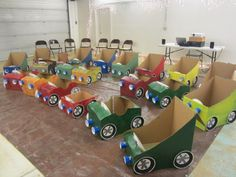 Cardboard cars for drive in movie party