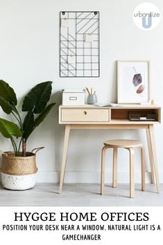 Lighting is a key part of Hygge design. Position your desk near a window to make the most of natural light    #lighting #homeoffice #smalloffice Home Office, Small Office, Floating Desk, Study Nook, Hygge Home, Velvet Curtains, Desk Space, Natural Home Decor, Home Schooling
