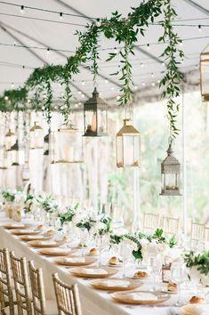 Hanging Brass Lantern Centerpieces#weddings#weddingcolors#weddingideas#springwedding#himisspuff#neutral#greenery#greeneryweddings