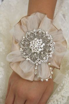 Brooch Wrist Corsage Bridal Wrist CorsageWedding by AbbyPlace