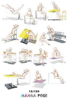 Tutorial Drawing Manga pose. Big posebook for manga anime character : Chair poses