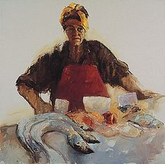 Dinie Boogaert, Portuguese Fishwoman, oil on canvas 1997, 100x100cm