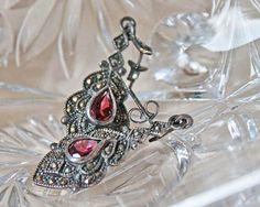 Sterling Silver Marcasite Earrings -- Vintage, via Etsy.