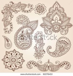 Henna Mehndi Doodles Abstract Floral Paisley Design Elements, Mandala, and Page Corner Design Vector Illustration