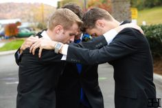 the guys praying before the wedding. <3 {chad & erin (bates) paine.}