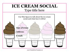 This ice cream social flyer has a background of soft serve ice cream cones in chocolate and strawberry with a pink border. You can include the date and address of the event, as well as important information about contacting the organizer. This is an excellent sign for use in schools and neighborhoods because it is very friendly and child-appropriate. Free to download and print