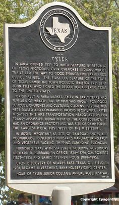 Tyler Texas historical marker, in the downtown square and a whole photo gallery of beautiful downtown Tyler, Texas.