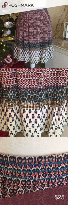 """Max Studio Specialty Products Skirt Fun bohemian design, elastic waist, fully lined, 20"""" in length, 100% rayon, machine wash. Max Studio Skirts"""