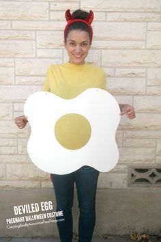 Love this super easy DIY pregnant Halloween costume! It's a deviled egg!