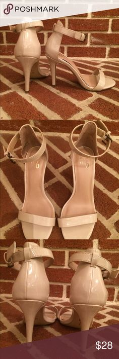 """Mix No. 6 Lina Sandal Nude 3 3/4"""" high heeled sandal. Worn for two Weddings, great condition. Finish at right front toe slightly scuffed, not noticeable. Mix No 6 Shoes"""