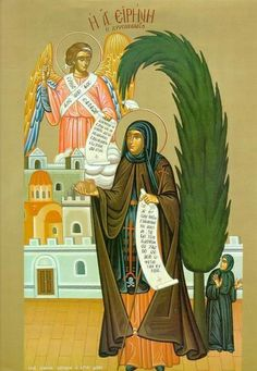 A copy of the wonderworking icon of Saint Irene Chrysovalantou venerated at Lykovrisi and painted by Monk Nektarios in 1919 on Mount Athos (. Byzantine Icons, Byzantine Art, Religious Icons, Religious Art, Orthodox Catholic, Orthodox Christianity, Day Of Pentecost, Bible Pictures, Best Icons