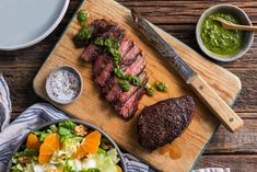 Pan-seared steaks with chimichurri and citrus-walnut salad
