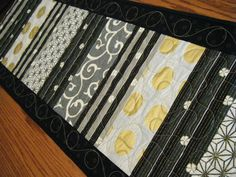 Japanese Black White Gold Striped Table Runner by derstinedesigns