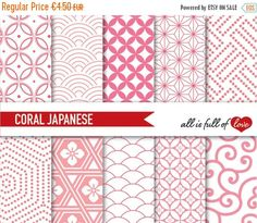 japanese background patterns in coral pink :: graphics wit.tterns are original and copyrighted by all is full of love Blog Backgrounds, Digital Backgrounds, Digital Papers, Japanese Background, Scrapbook Patterns, Japanese Patterns, Japanese Paper, All Paper, Mothers Day Crafts