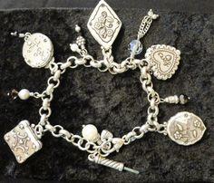 Brighton Photo Momento Picture Charm Locket Chain Faux Pearl Crystal Bracelet #Brighton