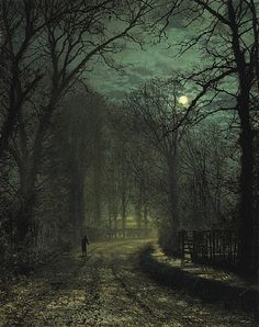 A Yorkshire Lane in November, c. 1873  by John Atkinson Grimshaw. I wish I could take photos this amazing... This guy painted it. Amazing.