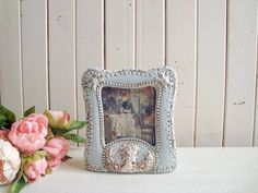 French Blue Ceramic Frame with Cameo, Light Blue Picture Frame, Shabby Chic Frame French Cottage Decor, Shabby Chic Cottage, Shabby Chic Frames, Vintage Frames, Blue Picture Frames, Rustic French, French Blue, Valentine Day Gifts, Blues
